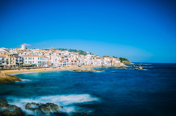 Coastal fishing town of Callela de Palafrugell with white houses, Catalania / Spain