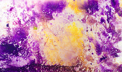 Abstract background for text or image. Ebru technique. Modern art. Marbled paper. Marbleized effect. Marble paper texture. Yellow and violet.