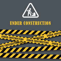 Under construction website page with black and yellow striped borders vector illustration. Border stripe web, warning banner. Man constructor work white sign.