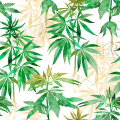 Watercolor Cannabis seamless background. Hemp repeatable pattern.