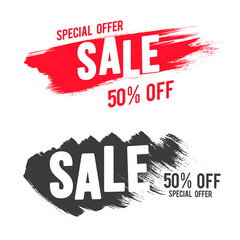 Vector brush painted sale banner template design set. Discount and offer sticker for print and web