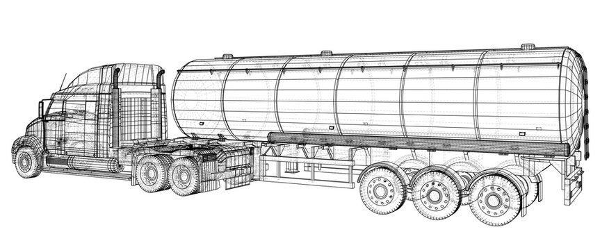 Gasoline tanker, Oil trailer, truck on highway. Very fast driving. Created illustration of 3d. Wire-frame.