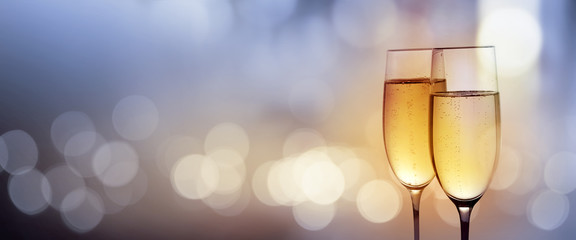 Clink glasses with champagne for a new year