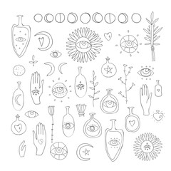 Hand drawn vector design elements Drawing of esoteric symbols Spiritual magic sacred signs and symbols on white background