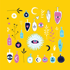 Hand drawn magical esoteric mystic elements on yellow background