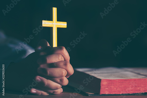efd56eebb Young teen girl holding a cross praying with hands close up, vintage  effect,soft focus.