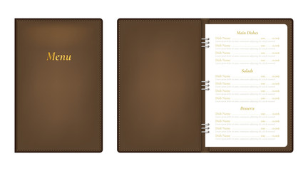 Realistic Detailed 3d Menu Book Set. Vector