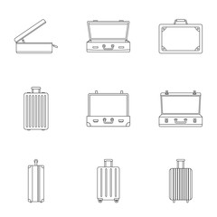Luggage icon set. Outline set of 9 luggage vector icons for web design isolated on white background