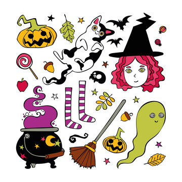 Halloween set. Witch, ghost, broom, bat. Isolated vector objects on white background.