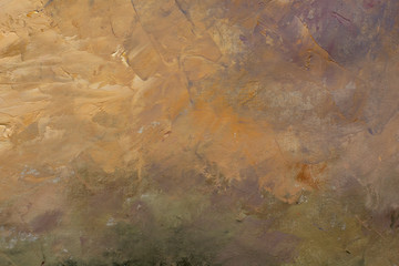 Abstract gold fog foggy misty textural landscape background fine art close-up fragment oil painting on canvas. For a screensaver or wallpaper, for free text