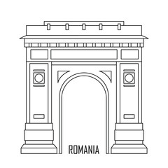 Triumphal arch in Bucharest, Romania. Historic architecture. Romania landmark. Travel sightseeing collection. Flat cartoon style. Vector illustration