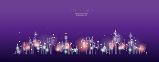 The particles, geometric art, line and dot of city night time.