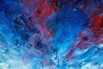 Abstract blue textural background fine art - close-up fragment oil painting on canvas. Large impasto strokes. For a screensaver or wallpaper