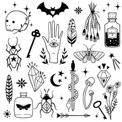 Vector witch magic design elements set.
