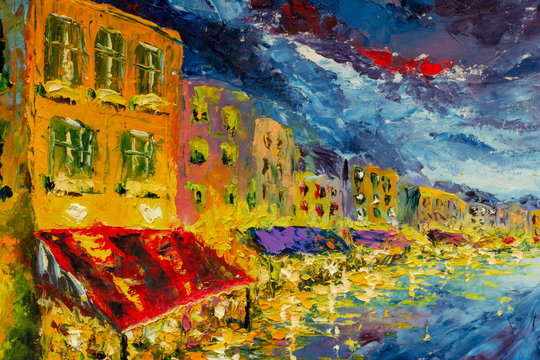 Night landscape to Grand Canal in Night city Venice, Italy, palette knife painting by oil on canvas, impressionism illustration fine art
