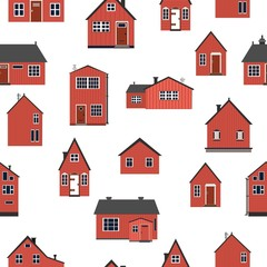 Seamless pattern of wooden scandinavian style houses