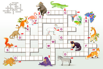 Crossword puzzle game with funny animals. Educational page for children for study English words. Vector cartoon image.
