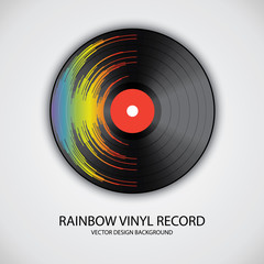 Poster of vinyl player record with rainbow colors