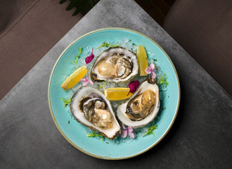 Oysters in ice with flowers and lemon on a blue plate