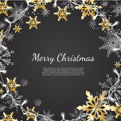 Merry Christmas and Happy New Year. Xmas background with Shining gold and silver Snowflakes. Greeting card, holiday banner.