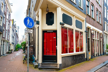 Amsterdam, Netherlands - May 23, 2018: Red Light District in Amsterdam, Netherlands