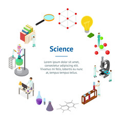 Science Chemical Pharmaceutical Concept Banner Card Circle 3d Isometric View. Vector