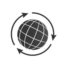 Globe with three arrows around icon for web and mobile, modern minimalistic flat design. vector illustration.