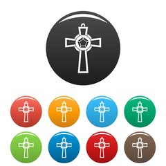 Gemstone cross icons set 9 color vector isolated on white for any design