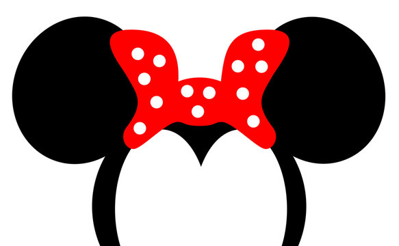 Mouse Ears with red bow Headband for Birthday Party or Celebration, cartoon style meme, vector eps 10