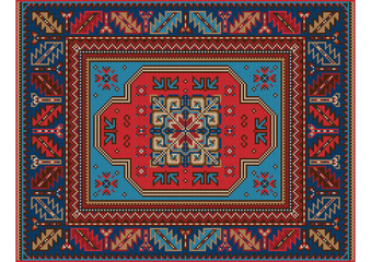 Variegated pattern of a luxury old oriental carpet with red,brown and blue shades on white background