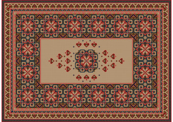 Image of a luxurious old oriental carpet with brown, beige and red patterns and ornament in the center on a beige background
