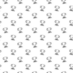 Seamless pattern hand drawn cup. Doodle black sketch. Sign symbol. Decoration element. Isolated on white background. Flat design. Vector illustration