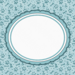 Teal and white dog pattern oval border with copy space