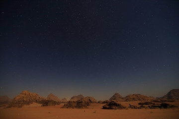 Night sky in Wadi Rum mountain in Jordan