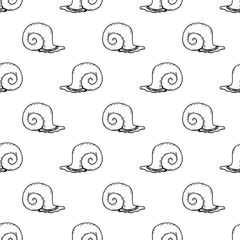 Seamless pattern hand drawn snail. Doodle black sketch. Sign symbol. Decoration element. Isolated on white background. Flat design. Vector illustration