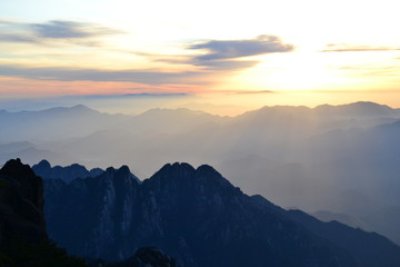 Beautiful sunrise at Huangshan Yellow mountain in Anhui province, China, Asian landscape