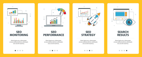 Search Engine Optimization internet banner. Vector set of banners with SEO monitoring, SEO performance, SEO strategy and search results website templates. Modern thin line flat style design.