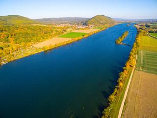 Foto auf Leinwand Fluss The Danube River near Donaustauf. Second longest european river flows through 10 countries. Originating in Germany, the Danube flows southeast for 2,850 km (1,770 mi).