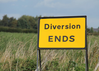 A Temporary Road Sign Showing the End of a Diversion.
