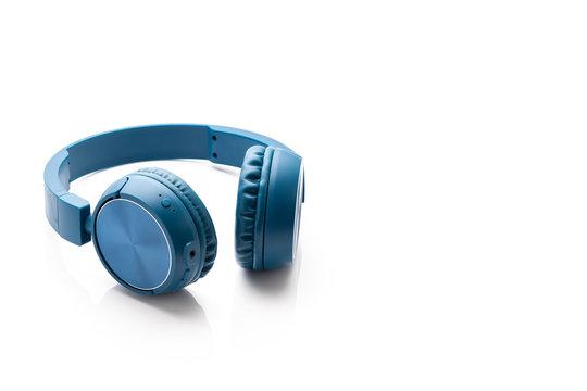 bluetooth blue headphone on white background