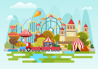 Amusement park vector concept on the mountains background.
