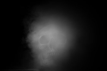 abstract art picture of human skull, black and white