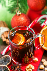Christmas mulled wine, winter drink