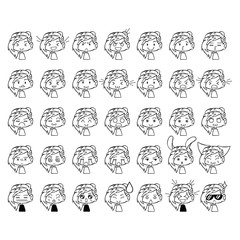 Little people. Cartoons. Emotions. Smileys. Isolated vector objects on white background. Set.