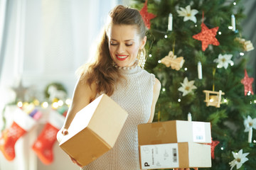 young housewife near Christmas tree looking at parcel