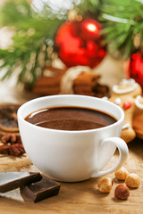 Christmas hot chocolate with gingerbread and cinnamon