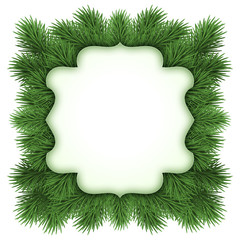 Christmas greeting card template, green fir tree frame isolated on white background, blank space for text, illustration