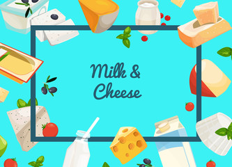 Banner and web page poster vector cartoon dairy and cheese products background with place for text illustration