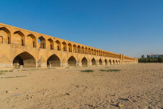 Khaju bridge over the dried up Zayandehrud river in Isfahan, Iran.