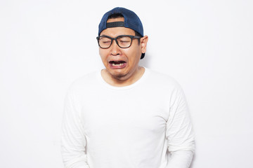 Funny Asian Businessman Crying Hard